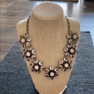 J Crew floral crystal statement necklace